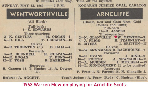1963 warren playing for scots in inter district comp