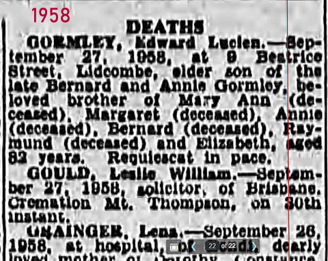 death notice Ted 1958