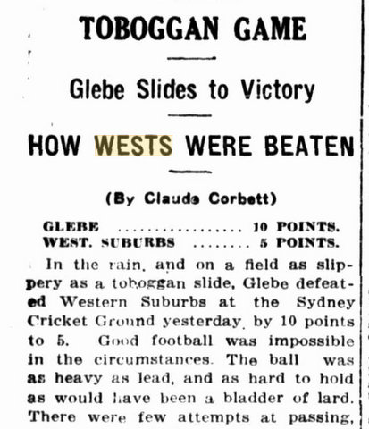1920 wests beaten by glebe