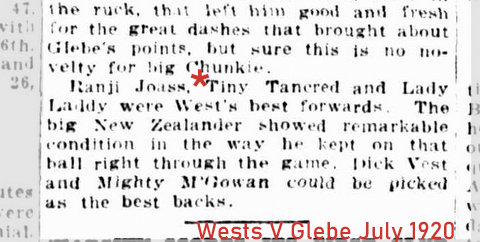 1920 wests v glebe tiny tancred story