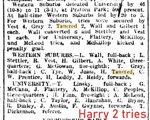 1920 wests v uni harry 2 tries