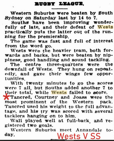 1920 wets v souths game repoert harry mentioned