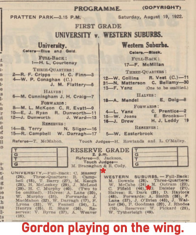 1922 aug 19 wests v uni rg scores 2 tries playing on the wing