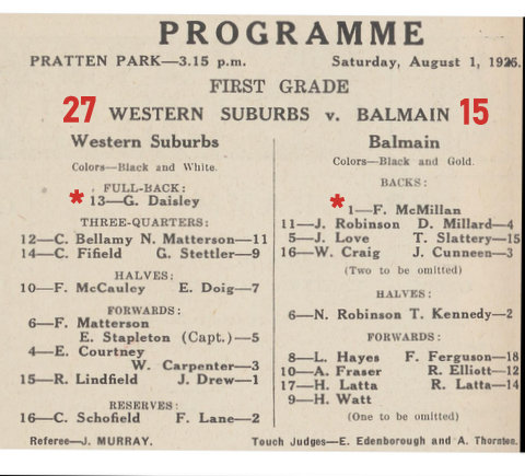 1925 aug program wests v balmain