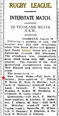 1925 nsw v qld played in brisbane story and team list