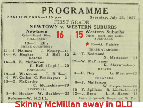 1927 july program wests v newtown skinny in qld