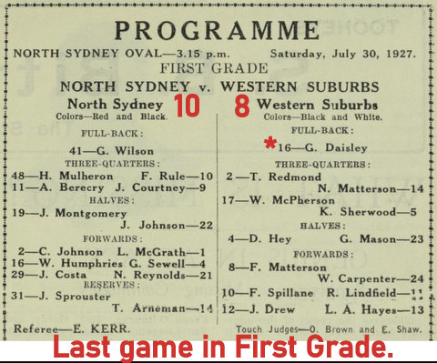 1927 norths v wests last game in first grade program