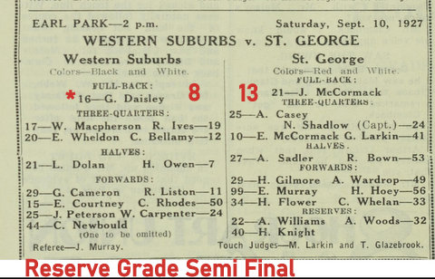 1927 reserve grade semi final program wests v saints