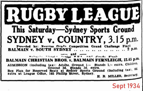 1934 advert for City v Country sept 1934