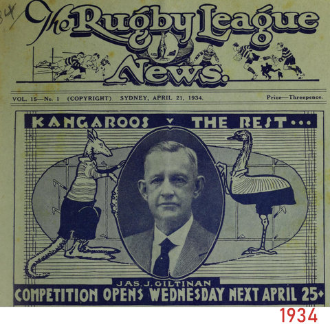 1934 front cover of Kangaroos v The Rest april 21st 1934