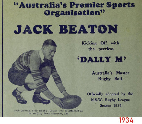 1934 photo of Jack Beaton. he and stan great oppistion.