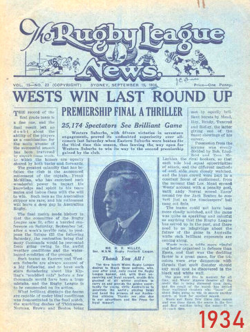 1934 story about wests win in gf