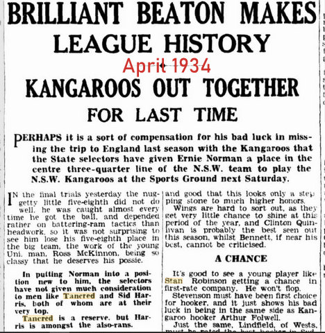 1934 story of stan missing team for NSW v NSW Kangaroos game.