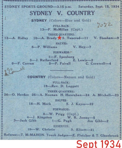 1934 team program Syd v Country. Sept 15th 1934