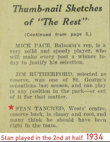 1934 thumb nail story about Stan in Rest team