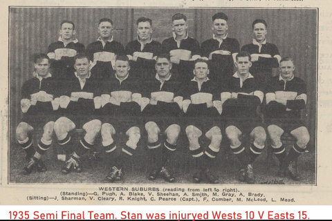 1935 Wests semi team photo stan missing due to injury.
