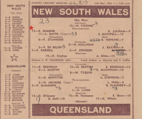 1948 may nsw v qld game 1