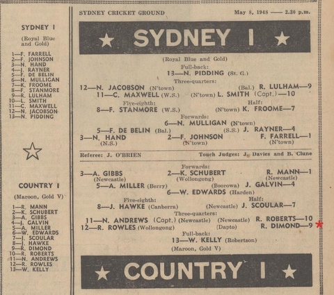 1948 may syd v country bob in country team