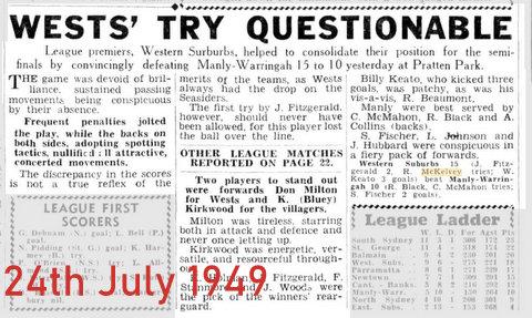 1949 Wests V Manly
