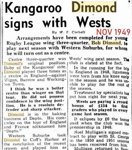 1949 nov bob signs with wests