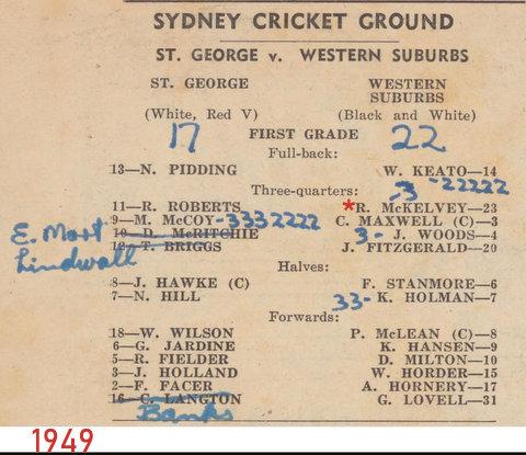 1949 wests v saints program