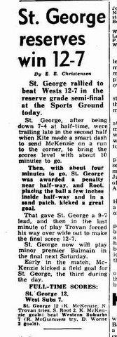 1950 game report wests v stg