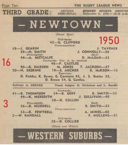 1950 second semi final third grade wests v newtown