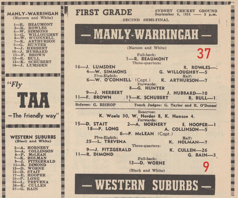 1951 semi final wests v Manly bob last game for wests
