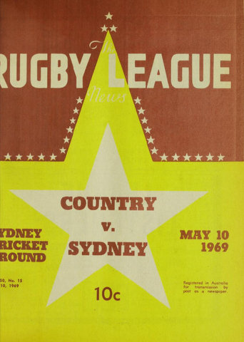 1969 front cover of country v sydney program