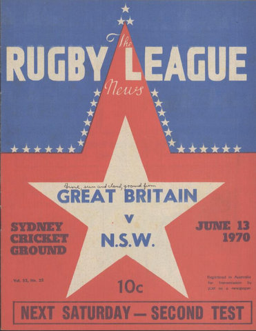 1970 front of program nsw v gb