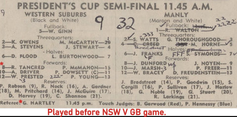 1970 ream list in program wests v manly.