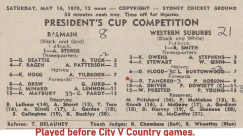 1970 team program wests v balmain