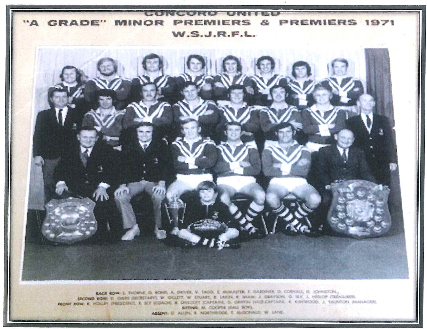 1971 Concord United A Grade Premiers (incl Feds players)