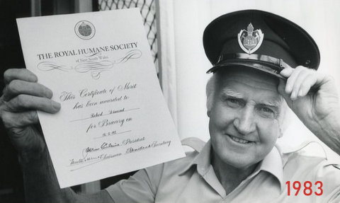 1980 photo of bob with his Bravery certificate