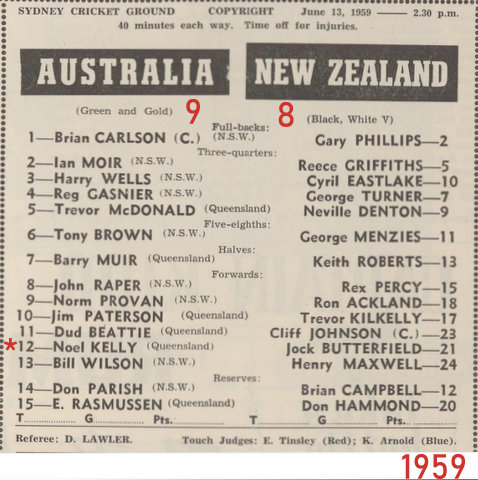 1959 program aust v nz at the scg
