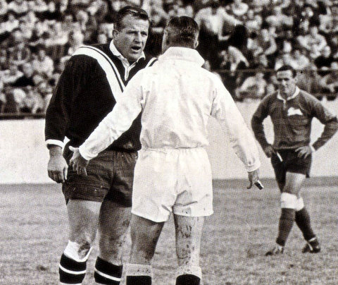 1969 chatting to ref at the sports ground