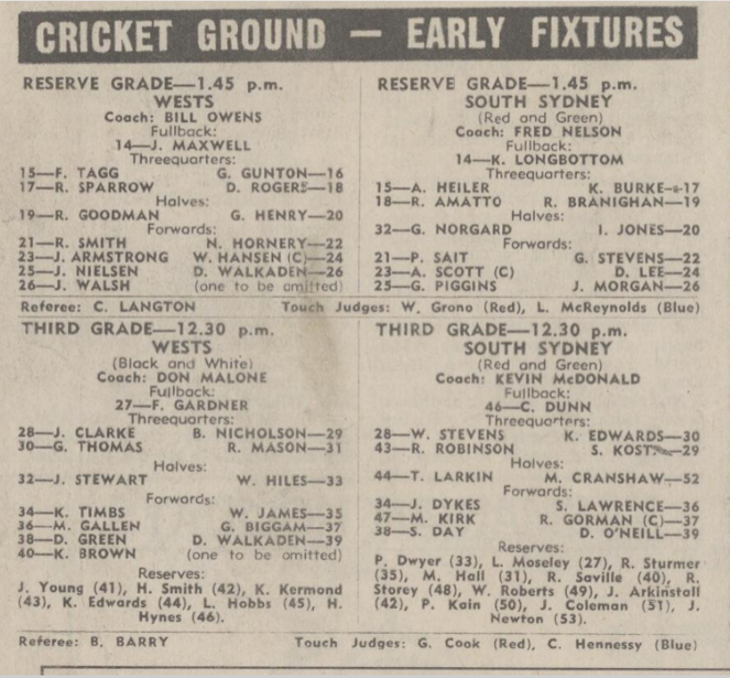 New clips Wests V Souths 1969