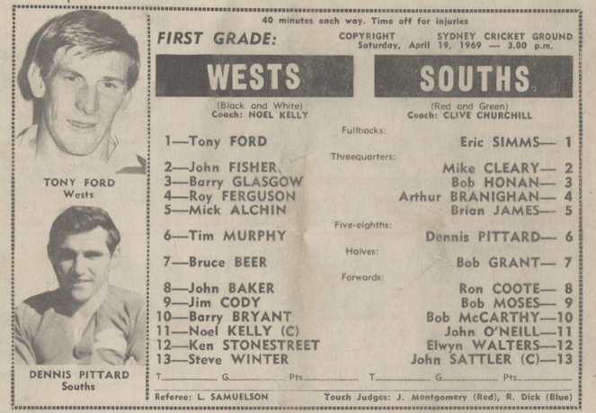 New clips Wests v Souths SCG 1969